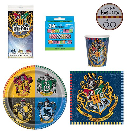Harry Potter Party Supplies - Plates Cups Napkins Serves 16 With Table Cover Birthday Candles and Exclusive Themed Sticker (Ref03) - Exclusive Candle
