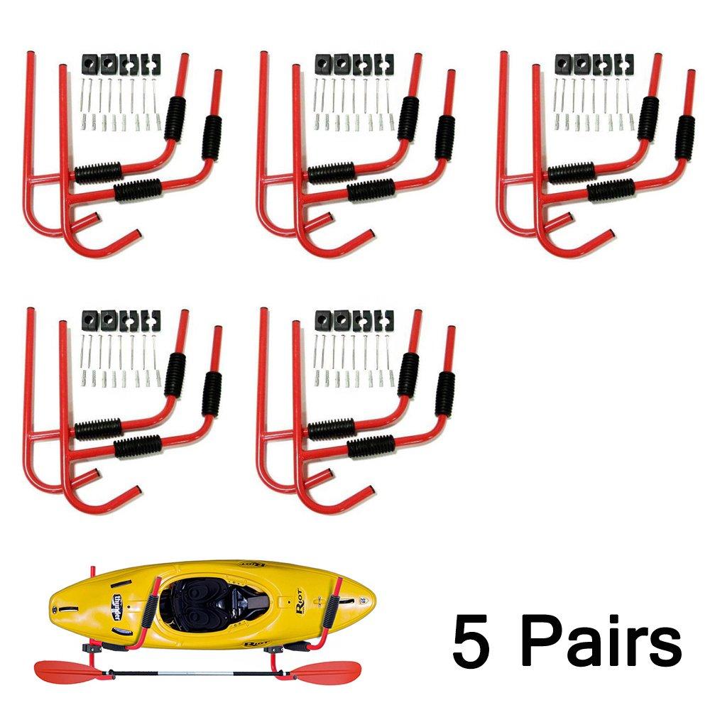 Set of 5 Kayak Ladder Wall Mount Storage Rack Bike Surfboard Canoe Folding Hanger