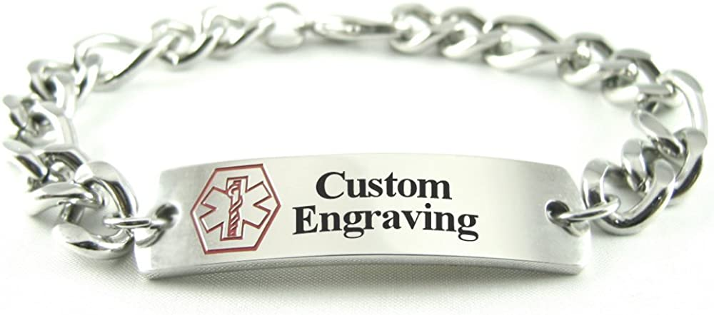 My Identity Doctor Custom Engraved Medical Bracelet Thick Figaro, 316L Steel – Red