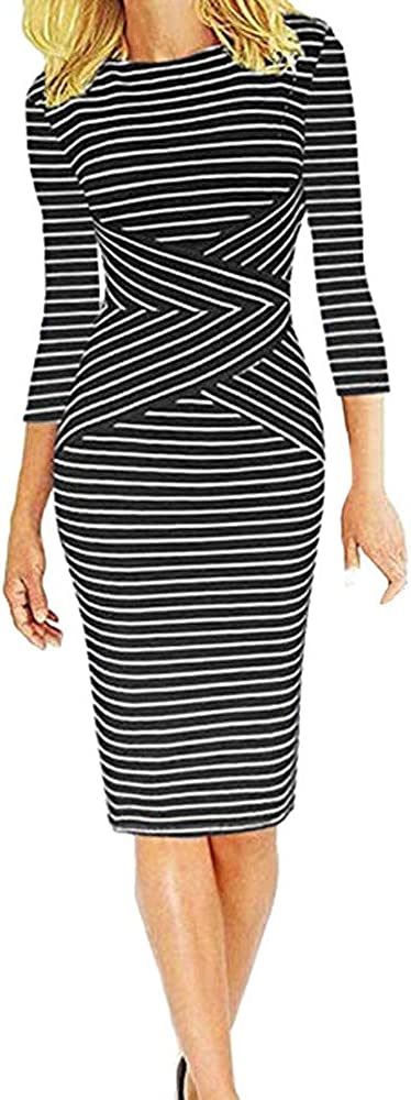 NPRADLA Women Three Quarter Sleeve Striped Work Wear Business Cocktail Pencil Dress