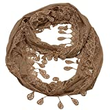 Girls Gold Solid Color Lace Edges Crochet Leafy Accents Circular Scarf