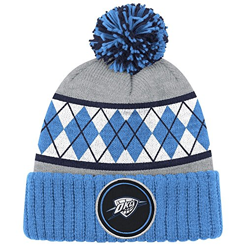 Mitchell & Ness Oklahoma City Thunder NBA High 5 Pom Knit Hat - Blue Argyle