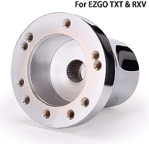 10L0L Universal 12.5 inch Golf Cart Steering Wheel/Adapter for EZGO TXT RXV, Club Car DS Precedent, Yamaha