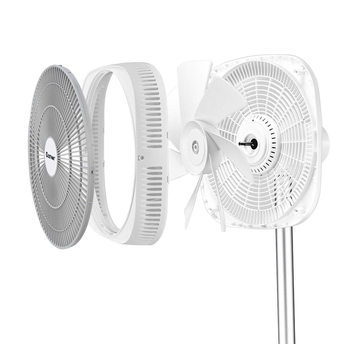 Amazon.com: COSTWAY12 in DC Cooling Oscillating Standing Pedestal Fan Silent Designing Stand Floor Fan Remote Control 6 Speed Options 8 Hour Timer Setting ...