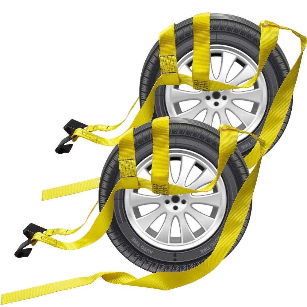 Bang4buck 2 Pieces Universal Adjustable Bonnet Tie Down System Wheel Straps for Demco Kar Kaddy Dollys with 2 Flat Hooks (Yellow-Rachet Strap)