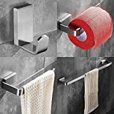 WINCASE New Modern Style 4 Piece Durable Bathroom Hardware Accessory Set of Stainless Steel on Silver Gloss Including a Towel Bar a Toilet paper holder a Towel Ring and a Coat Hook