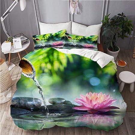 PANILUR Bedding Juego,jardín Zen con Piedras Negras y nenúfar rosaFunda de Nórdico Fundas de Almohada 140x200cm +2(50x80cm): Amazon.es: Hogar