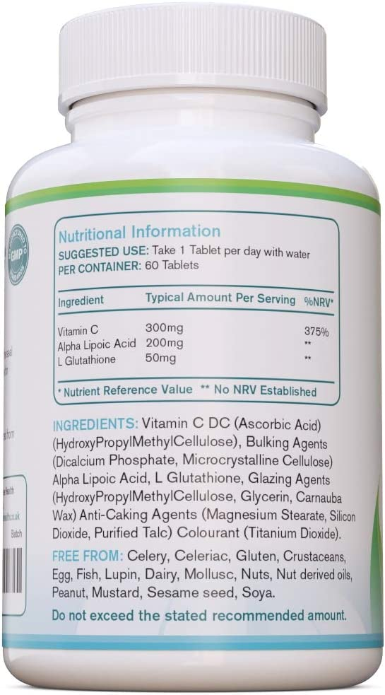 A to Z Pure Health L-Glutathione with Vitamin C /& ALA x 60 Tablets
