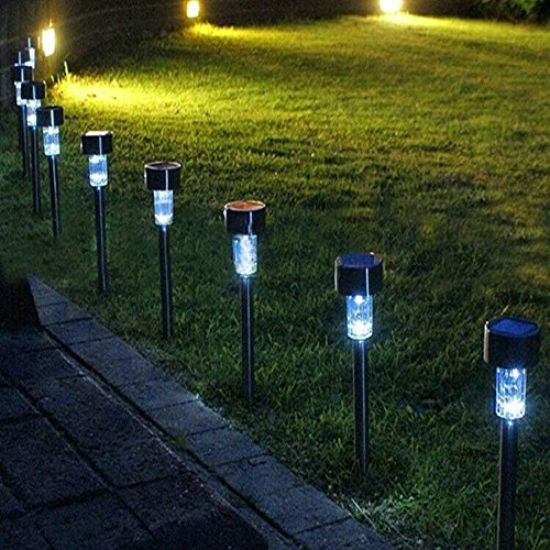 JuguHoovi Solar Garden Lights, 12 Pack Solar Lights Outdoor Solar LED Pathway Lights, White Solar Landscape Lights for Lawn, Patio, Walkway, Driveway (37 cm for Each Pack) by JuguHoovi (Image #6)