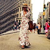 Women Long Dress Daoroka Ladies Sexy V Neck Long Sleeve Vintage Flower Print Cocktail Evening Party Boho Beach Ankle Length Skirt Casual Loose Fashion Beautiful Summer Cute Sundress (XL, White)