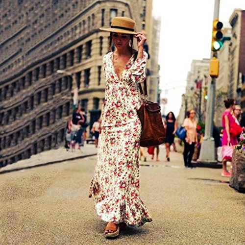 Price comparison product image Women Long Dress Daoroka Ladies Sexy V Neck Long Sleeve Vintage Flower Print Cocktail Evening Party Boho Beach Ankle Length Skirt Casual Loose Fashion Beautiful Summer Cute Sundress (2XL, White)
