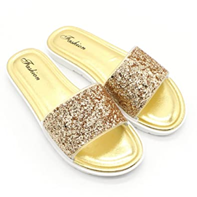24eef06075b99f Image Unavailable. Image not available for. Color  Btrada Women s Slides Sandals  Non-Slip Wear-resistanting Beach Slippers Summer Flats Shoes