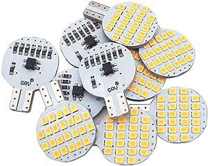 Grv T10 LED Light Bulb 921 194 192 C921 24-2835 SMD Super Bright Lamp DC 12V 2 Watt For Car RV Boat Ceiling Dome Interior Lights Warm White (2nd Generation) Pack of 10