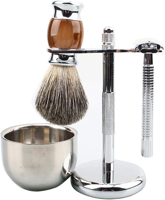 Juego de sostenedor de cepillo de afeitar de barba de melena masculina de gama alta, afeitadora manual Amazon hot sale set 4: Amazon.es: Salud y cuidado personal