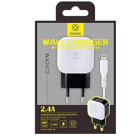 WOOX WA2473 Cargador para iPhone 5/6/7/8/X 2,4A 1,2M 2USB ...