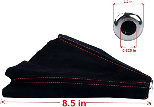 Dewhel Jdm Universal Fitment Suede Manual Shift Boot Black W// Red Stitching
