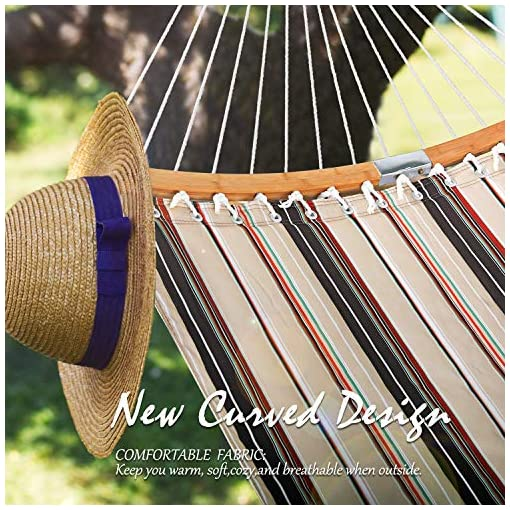Garden and Outdoor Large 2 Person 11FT Double Hammock Quilted Fabric Swing with Foldable Curved Bamboo Bar & Detachable Pillow & Carrying… hammocks