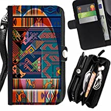 Native Pattern Cave Drawing Indian Design - Flip Credit Card Slots Pu Holster Leather Wallet Pouch Protective Skin Case Cover For Sony Xperia T3