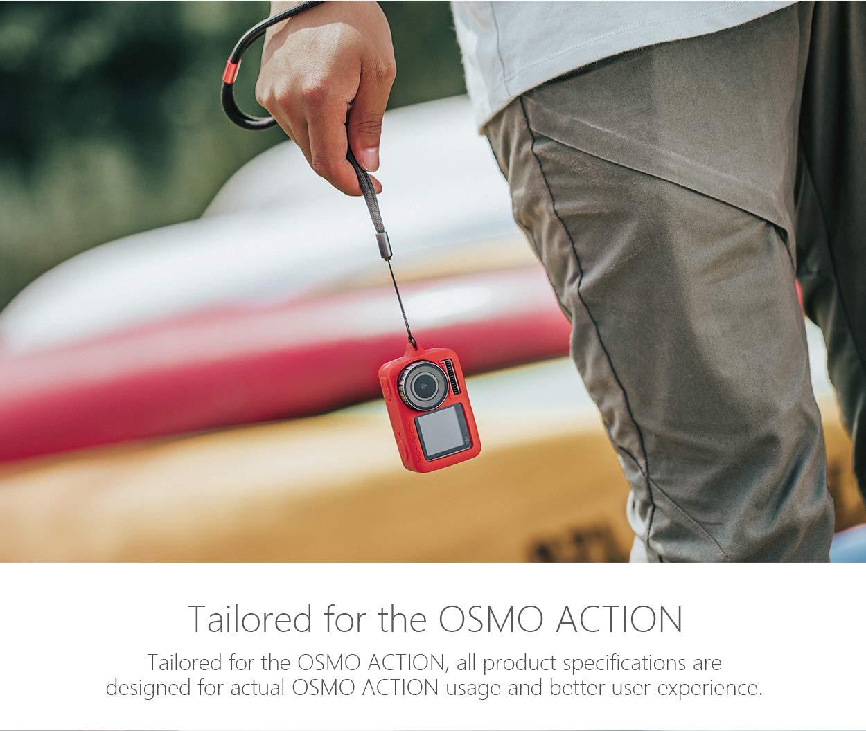 Accessori Protective Case Cover FASTSNAIL Custodie Protettiva e Copriobiettivo in Silicone per DJI OSMO Action Lens cap