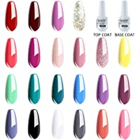 Vishine Lot de Vernis Gel Semi-Permanent (22 couleurs + Base Coat & Top Coat) Vernis à Ongles Gel UV LED Soak Off 24 Flacon 8ml Cadeau