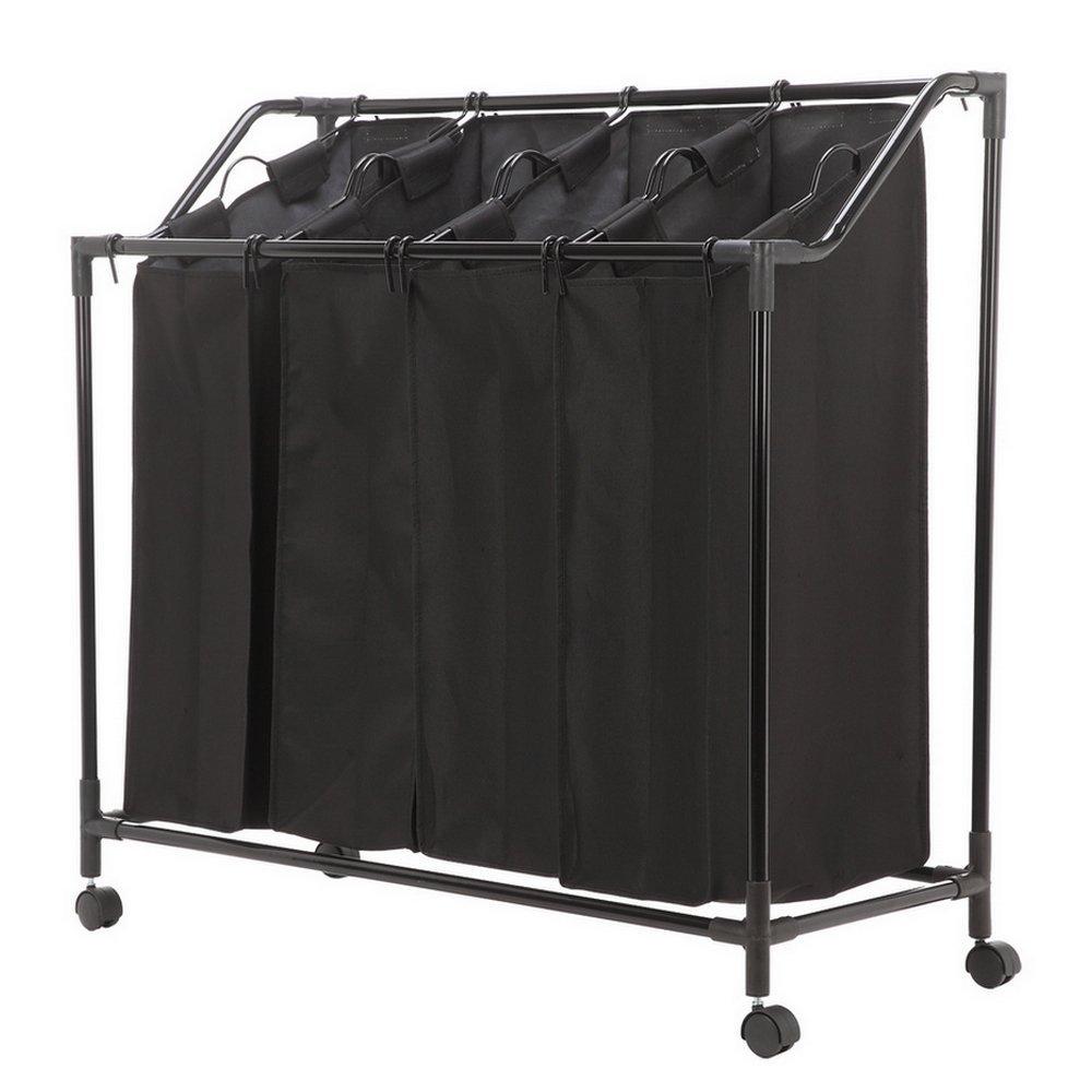 Homegear Rolling Laundry Bin / Sorter / Organizer / Hamper With 4 Hanging Bag