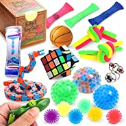 Sensory Fidget Toys Set, 25 Pcs., Stress Relief and Anti-Anxiety Tools Bundle for Kids and Adults, Marble and Mesh, Pack of