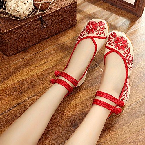 WXT Zapatos bordados, lenguado del tendón, estilo étnico, zapatos de tela femenina, moda, cómodo, casual dentro del aumento Red
