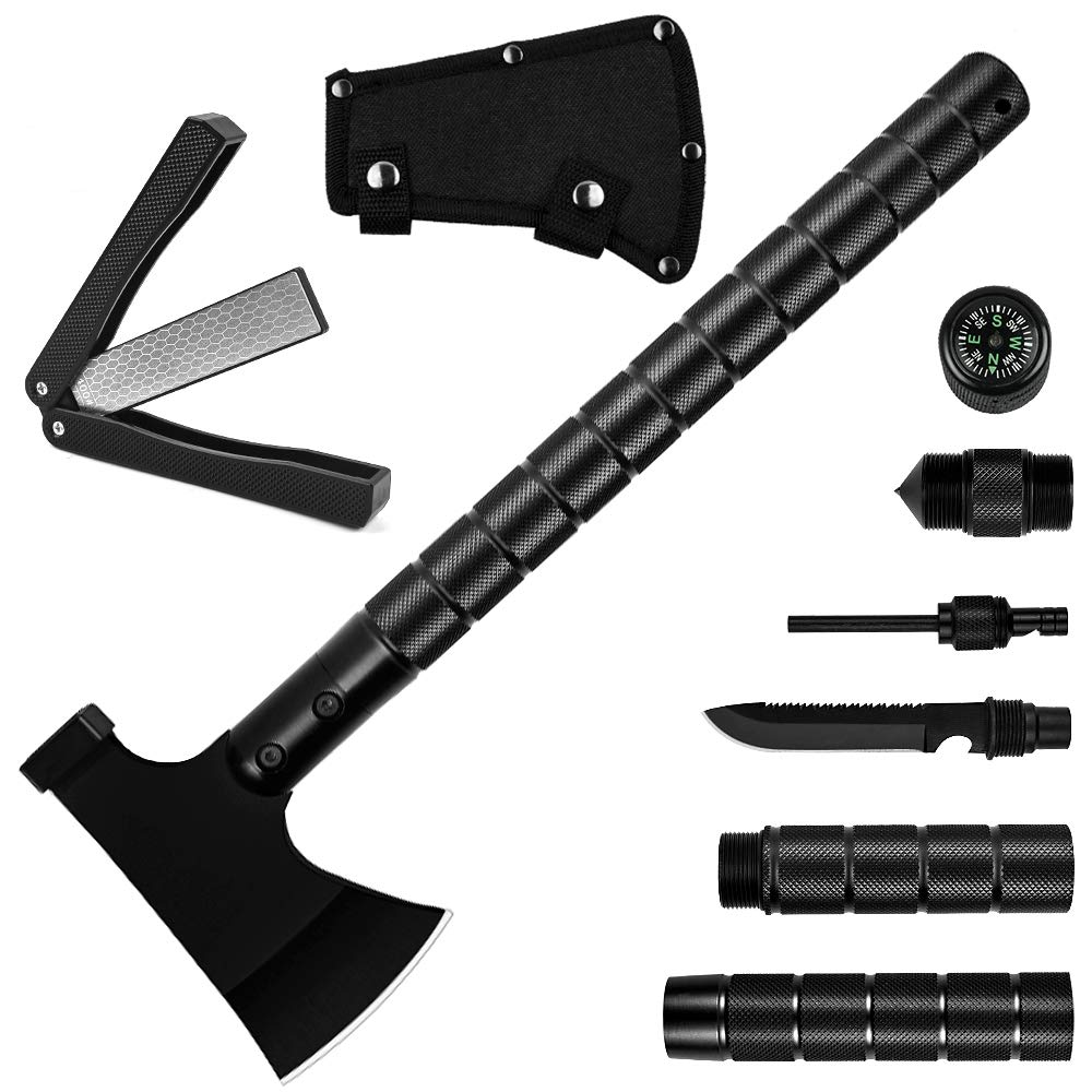 Yeacool Camping Axe with Sheath Sharpener 16 inch Camping Hatchet Tactical Portable Folding Multitool for Outdoor Adventures, Hiking, Camping, Backpacking, Hunting, Emergency