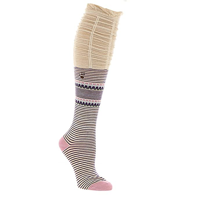 301fdbcd412 Bearpaw Fashion Socks Womens Scrunch Top Knee High Tan Pink BP-566SC ...