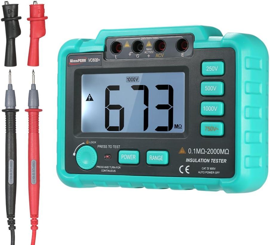 Festnight WinsPEAK VC60B LCD Digital Insulation Resistance Tester Megohm Meter Megohmmeter DC250V//500V//1000V AC750V