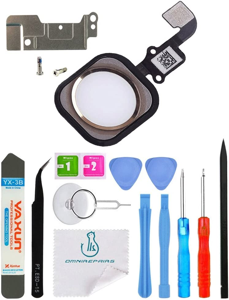OmniRepairs-Home Button Flex Cable Replacement with Rubber Gasket and Screws (2), For iPhone 6s and iPhone 6s Plus with Repair Toolkit (Gold)