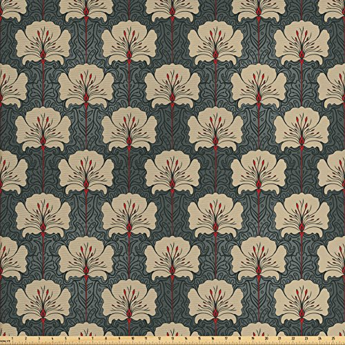 (Ambesonne Floral Fabric by The Yard, Art Nouveau Style Romantic Poppy Flowers Artistic and Ornate Nature Design, Decorative Fabric for Upholstery and Home Accents, Tan Grey Vermilion)