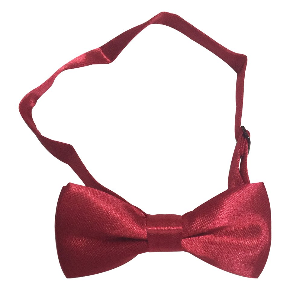 Boys Children Kids Solid Color Satin Banded Bow Ties Various Color (Burgundy)