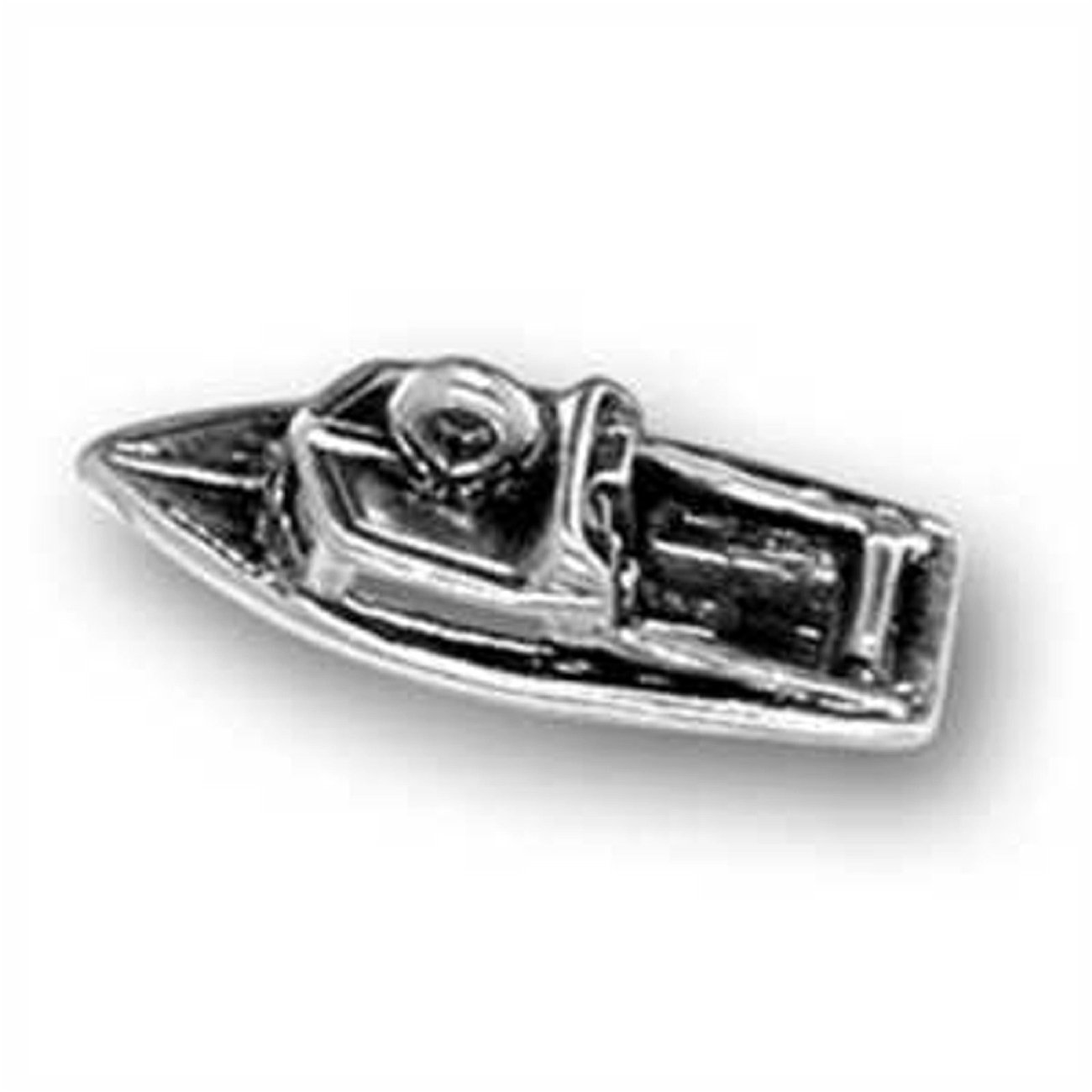 Sterling Silver Womens 1mm Box Chain 3D Recreational Small Cabin Motor Boat Pendant Necklace
