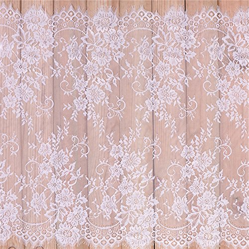 (Eyelash Lace Fabric White Lace Table Runner Wedding Party Xmas Lace Fabirc (29