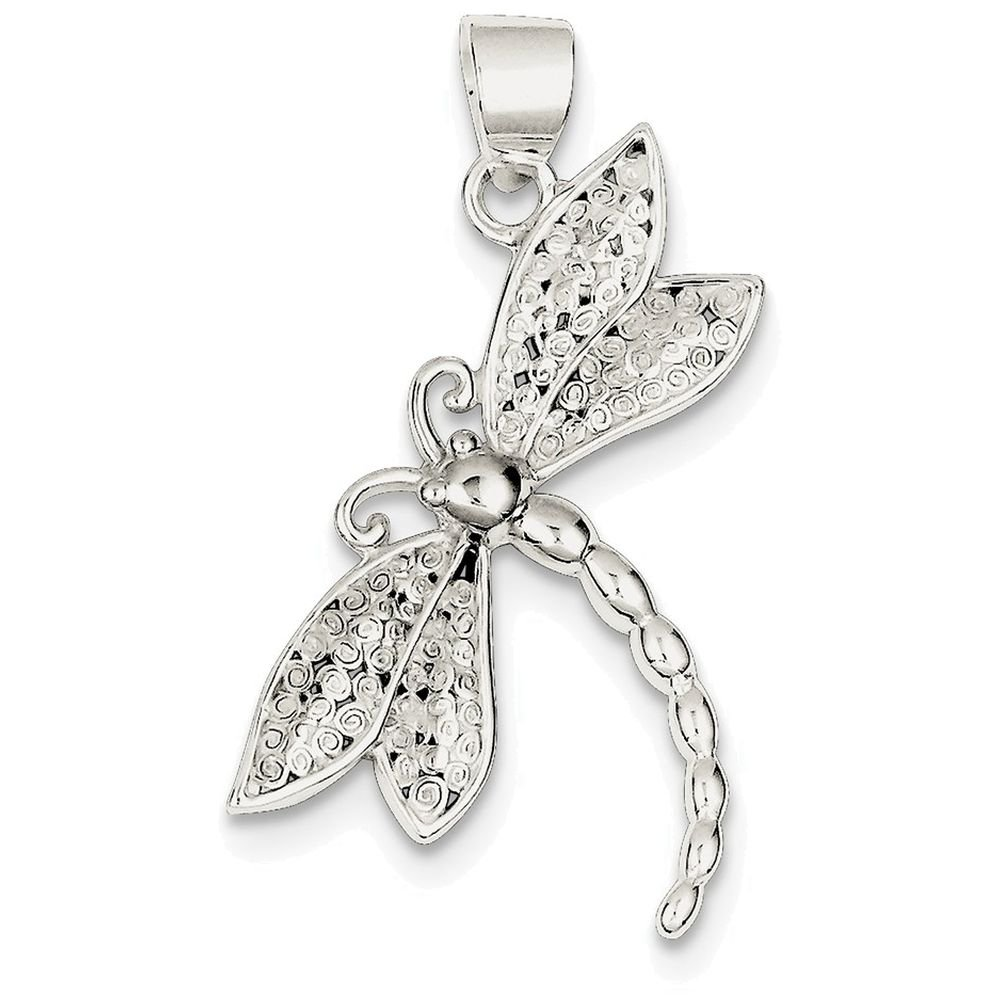 Finejewelers Sterling Silver Polished and Textured Dragonfly Pendant Necklace Chain Included