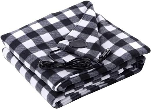 and Emergency Kits Tailgating Heated 12 Volt Fleece Travel Throw for Car Trucks Winter Cold Weather Heated Car Blanket Electric for Cold Weather Electric Car Blanket