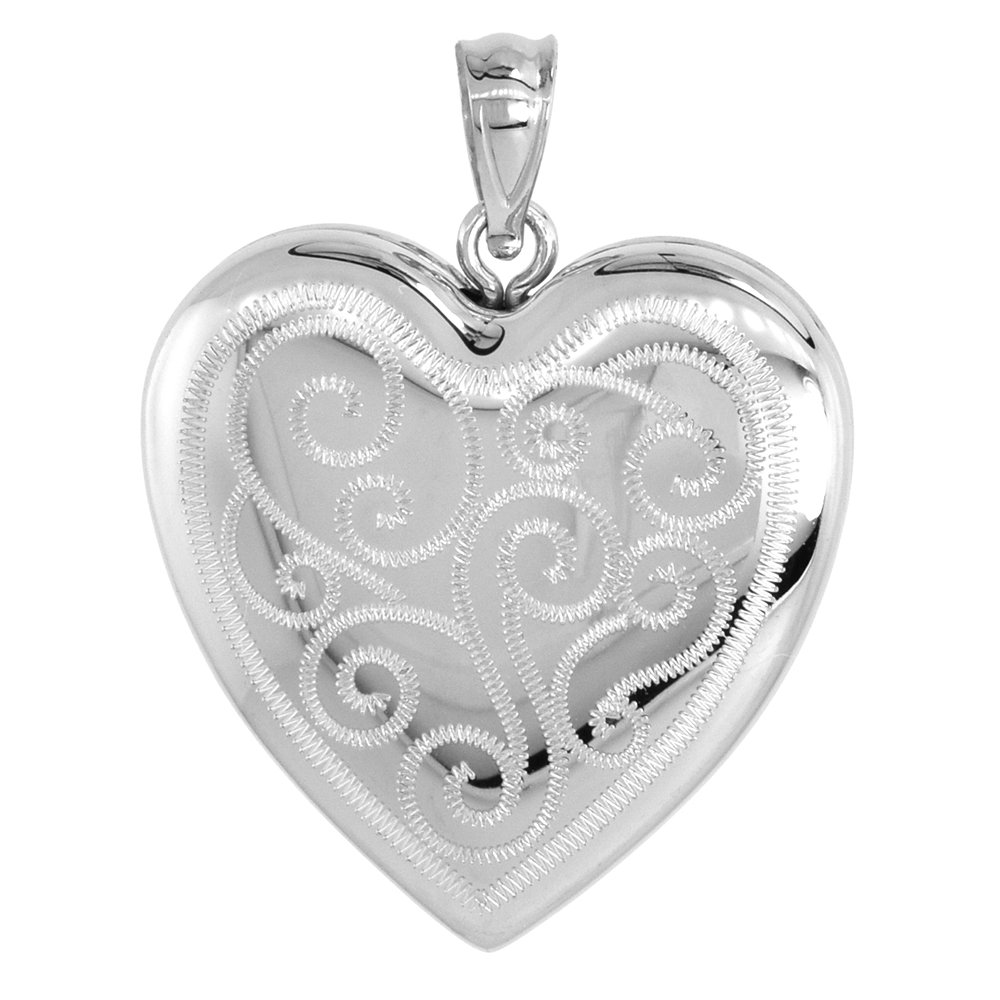 1 inch Sterling Silver Heart Locket Necklace for Women 4 Picture Scroll Engraved, 18 inch RL_30H
