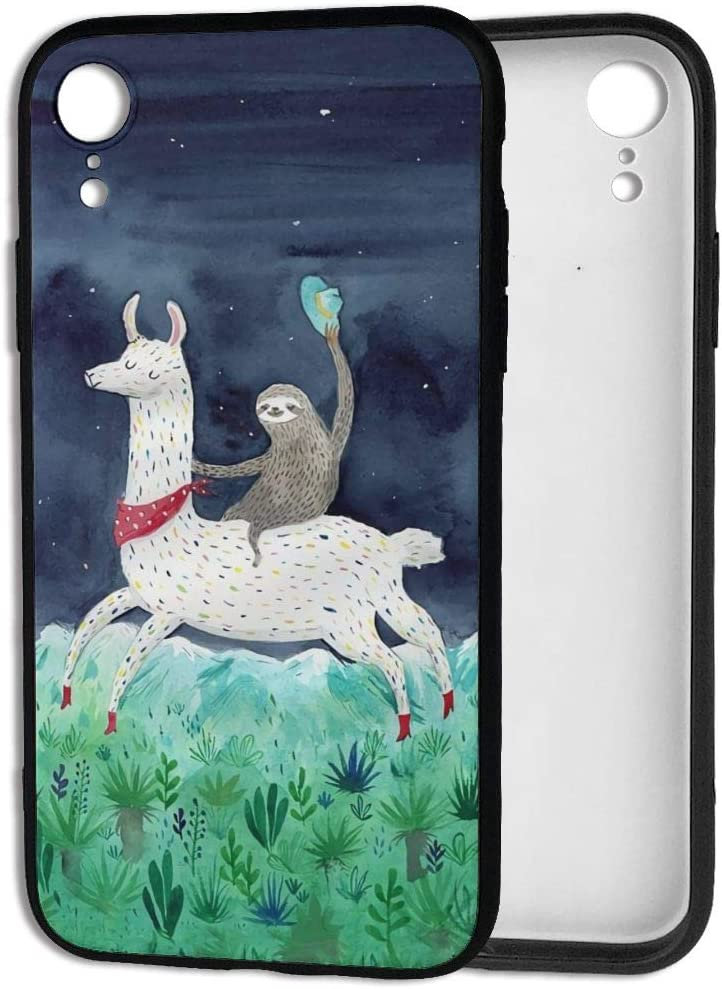 Happy Index Watercolor Sloth Riding Llama iPhone XR Case Soft TPU Shell Full Protective Bumper Anti-Scratch Case Enhanced Grip Protective Defender Cover Designed for iPhone XR 6.1 Inch