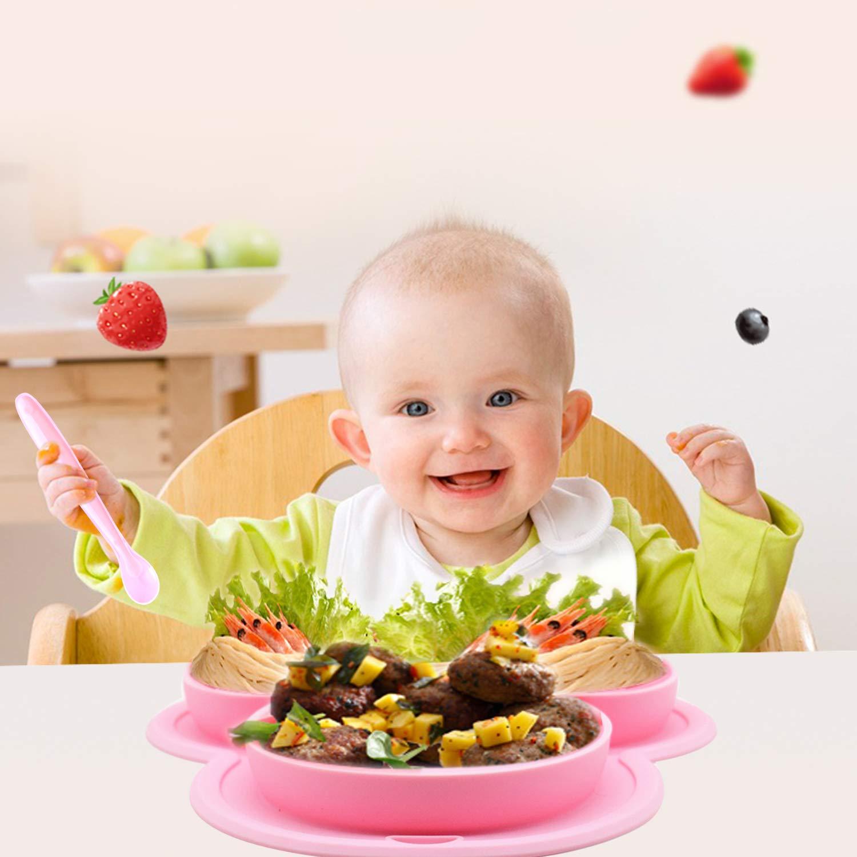 Kinderteller Rutschfest Unterteilt Tragbare Babyplatte Kleinkindplatte BPA-freie FDA Zugelassene Yuccer Baby Teller Silikon Blau 2 St/ück