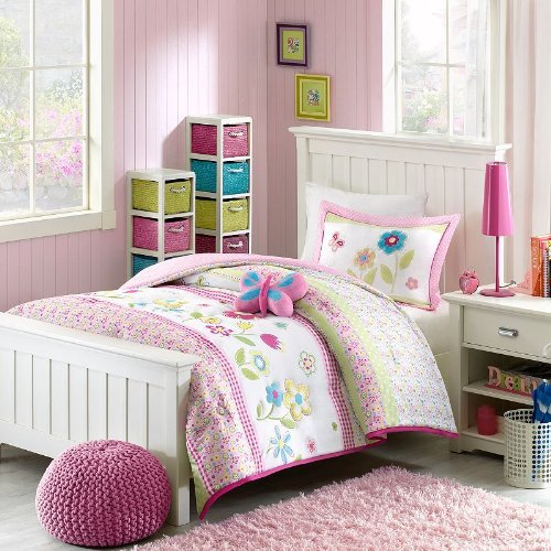 Mizone Kids Spring Bloom 4 Piece Comforter Set, Multicolor, Full/Queen