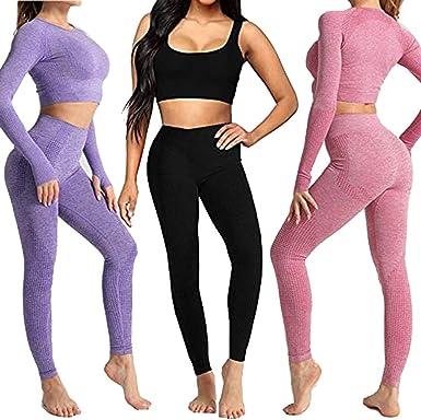 Donykarry Conjunto Yoga 3 Piezas Ropa Fitness Pantalones De Yoga Super Elasticos Sin Costuras Bralette Para Mujer Camiseta Deportiva De Manga Larga Sin Costuras Mujer Amazon Es Ropa Y Accesorios