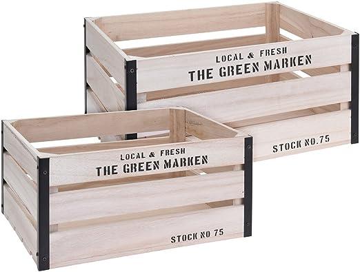Juego de 2 cajas de madera, caja The Green marcas 40 x 30 x 19 cm y 35 x 25 x 17 cm: Amazon.es: Hogar