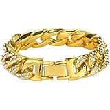 """Fusamk Hip Hop Plated 18K Gold 14MM Wide Cuban Chain Bracelet Crystal Link Bracelet,9.0"""" Wrist"""