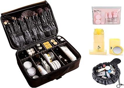 Estuche de maquillaje profesional, bolsa de maquillaje profesional, bolsa de cosméticos de regalo, botella de viaje, bolsa de cosméticos con cordón, 1 unidad: Amazon.es: Belleza
