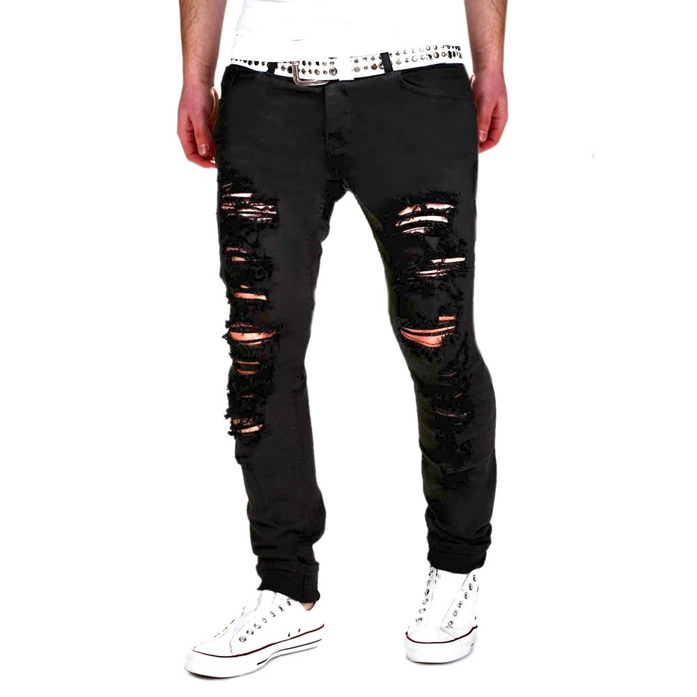 Chen Men's Black Ripped Skinny Distressed Destroyed Straight Fit Denim Jeans with Holes (W30, Black)