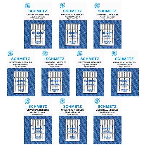 50 Schmetz Universal Sewing Machine Needles -size 70/10- Box of10 cards