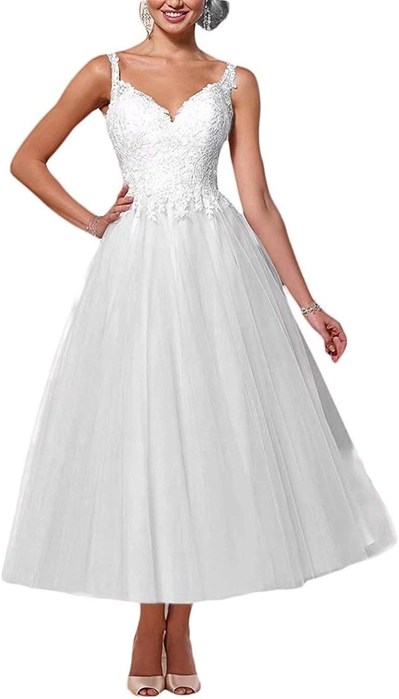 YASIOU Brautkleider Damen Elfenbein Weiß A Linie Tüll Spitze