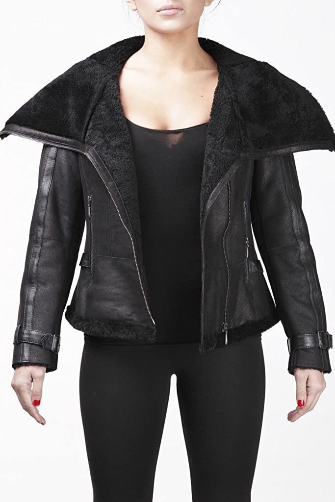 Womens Short Black Vintage Merino Sheepskin Aviator Leather ...