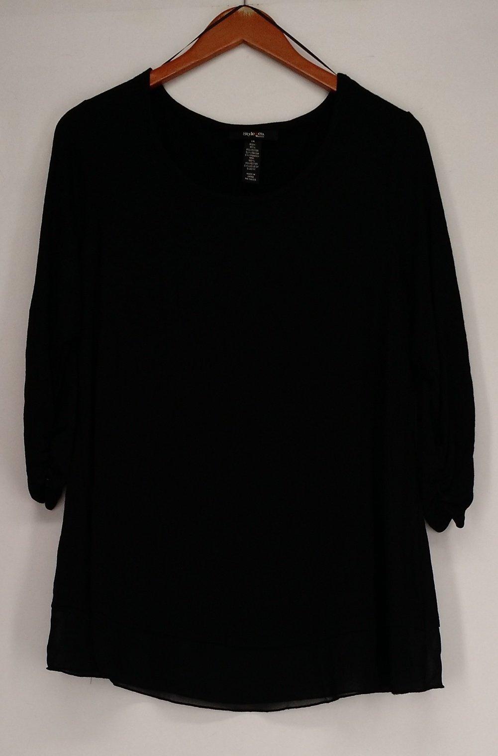 Style & Co.. Chiffon-Hem Three-Quarter-Sleeve Top (1X, Deep Black)